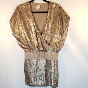 Haute Hippie Gold Sequin Wrap Mini Dress